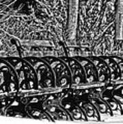 Benches In The Snow - Bw Art Print