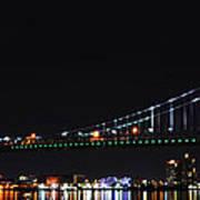 Benjamin Franklin Bridge At Night Panarama Art Print