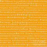 Berlin In Words Orange Art Print