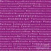 Berlin In Words Pink Art Print