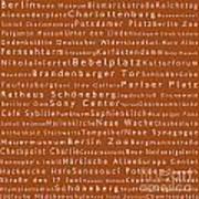 Berlin In Words Toffee Art Print