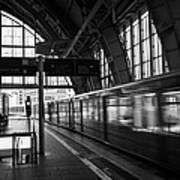 Berlin S-bahn Train Speeds Past Platform At Alexanderplatz Main Train Station Germany Art Print by Joe Fox
