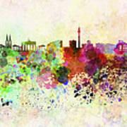 Berlin Skyline In Watercolor Background Art Print