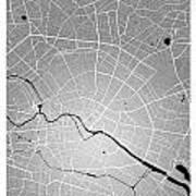 Berlin Street Map - Berlin Germany Road Map Art On Colored Backg Art Print