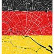 Berlin Street Map - Berlin Germany Road Map Art On German Flag Background Art Print