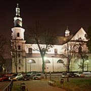 Bernandine Church At Night In Krakow Art Print