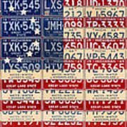 Betsy Ross American Flag Michigan License Plate Recycled Art On Red Board Art Print