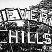 Beverly Hills Sign In Black And White Art Print