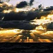 Crepuscular Biblical Rays At Dusk In The Gulf Of Mexico Art Print