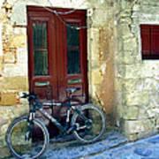 Bicycle Of Santorini Art Print