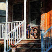 Bicycle On Porch Art Print
