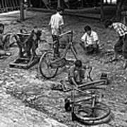Bicycle Repair In Amarapura Art Print