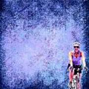 Bicycle Rider On Blue Background Art Print