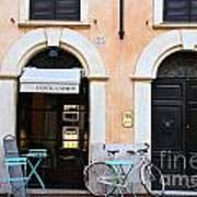 Bicycle With Blue Table And Chairs In Roma Art Print