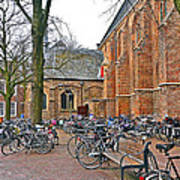 Bicycling To Church Art Print