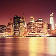 Big Apple - Night Skyline - New York City Art Print
