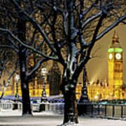 Big Ben And Houses Of Parliament In Snow Art Print