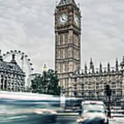 Big Ben At Dusk With Passing Traffic - Art Print