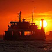 Big Boat At Sunset  Art Print