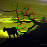 Big Cat Silhouette -  Use Red-cyan 3d Glasses Art Print