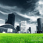 Big City And Green Fresh Meadow Art Print