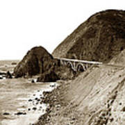 Big Creek Bridge Double Arched Concrete Bridge On Highway 1. About 40 Miles South Of Monterey  1935 Art Print