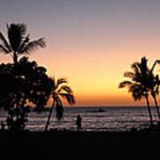 Big Island Hawaii Kona Red Sky Art Print