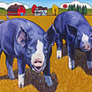 Big Pigs Art Print by Stacey Neumiller