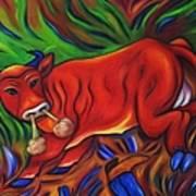 Big Red Bull Bucks Art Print