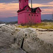 Big Red Lighthouse By Holland Michigan Art Print