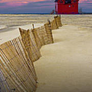 Big Red Lighthouse With Sand Fence At Ottawa Beach Art Print