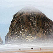 Big Rock On The Oregon Coast With Fog Art Print