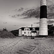 Big Sable Point Lighthouse In Black And White Art Print