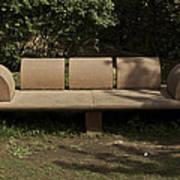 Big Stone Bench Inside The Garden Of 5 Senses Art Print
