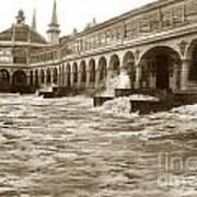 Big Storm Waves At Santa Cruz Beach And Casino And Beach Ca Circa 1925 Art Print