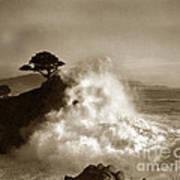 Big Wave Hitting The Lone Cypress Tree Pebble Beach California 1916 Art Print