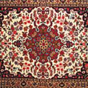 Bijar Red And Khaki Silk Carpet Persian Art Art Print