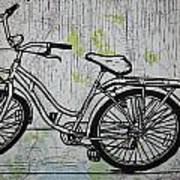 Bike 5 On Map Art Print by William Cauthern