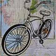 Bike 6 On Map Art Print by William Cauthern