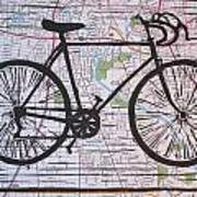 Bike 8 On Map Art Print by William Cauthern