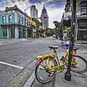 Bike And 3 Georges In Mobile Alabama Art Print