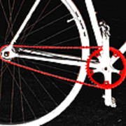 Bike In Black White And Red No 2 Print by Ben and Raisa Gertsberg