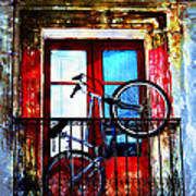 Bike In The Balcony Art Print