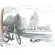 Bike In The Snow Art Print