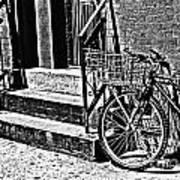 Bike In The Sun Black And White Art Print