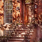 Bike - Ny - Greenwich Village - An Orange Bike  Art Print by Mike Savad