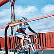 Bike On The Golden Gate Bridge Art Print
