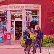 Bikes Backpacks And Cold Beer At The Local Corner Depanneur Montreal Summer City Scene  Art Print
