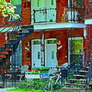 Bikes Balconies Brick Houses Flower Boxes Verdun Duplex Stairs Summer Scenes Carole Spandau Art Print