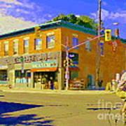 Biking By The Bakery On Bank The Glebe Nicastro Foods And David's Tea Ottawa Streetscene Cspandau    Art Print